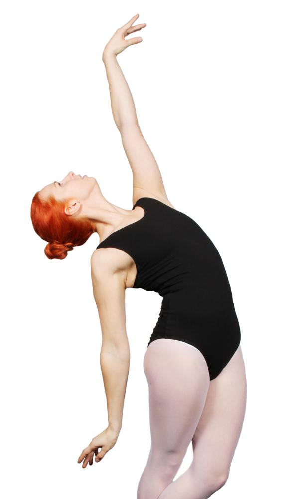 Hihaton tanssipuku, korkealla etuosalla ja avonaisella takaosalla. Sopii hyvin sekä nykytanssiin että balettiin.